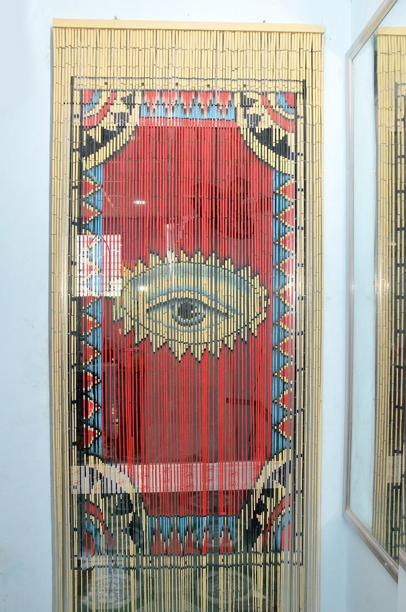Wooden Door Beaded Curtain Strands on