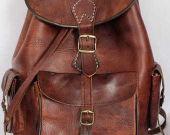 078 Large Vintage Style Real Genuine Leather Bag Rucksack Backpack Brown