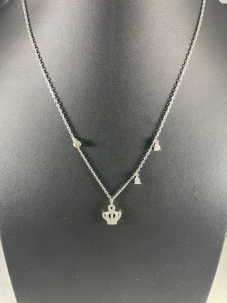 Crown Necklace with dangling Cubic Zirconia Sterling Silver