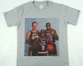 33f90b38a4ef Michael Jordan Magic Johnson   Larry Bird Grey T-shirt Sizes Available S-3XL
