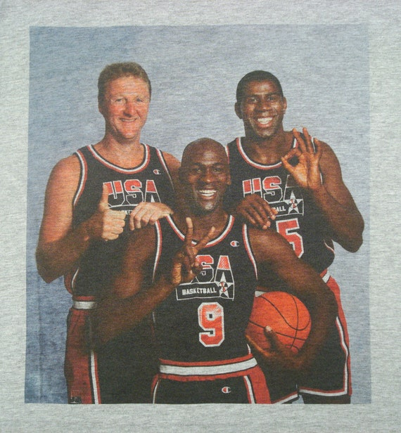 Michael Jordan Magic Johnson Larry Bird Grey Sweatshirt SMALL-XXL Dream Team USA