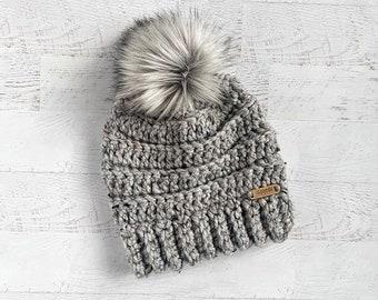 Crochet Beanie   Womens Hat with pom pom   Grey winter hat   Hat with fur  pom pom   Womens crochet hat 613dd337b0