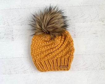 eaa894033 Mustard pom pom hat | Etsy