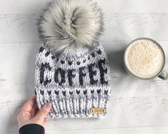9e13e12c157fab Coffee Beanie / Womans Winter Hat / Coffee Lovers Gift / Gift for Her /  Coffee Addict / Ready To Ship