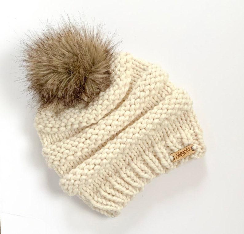 beeabb0158d Women s Knit Beanie   Adult Hat   Knit hat with pom pom