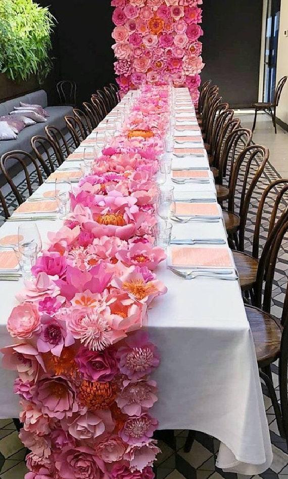 Paper Flower Table Runnertable Centrepiece Decorwedding Etsy