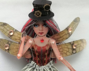 Fiona - Steampunk Doll - Articulated Doll - Jewelry puppet