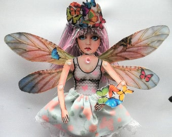 Gigi - Doll with Butterfly - Articulated Doll - Jewelry puppet