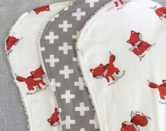 Baby burp cloths set of 3 or 4 - foxes and crosses
