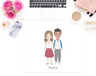 DIGITAL DOWNLOAD - Custom Cartoon Couple Portrait Illustration