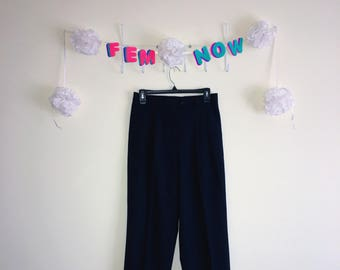 Vintage 1990s Pants, F by Facconable – Navy Cuffed