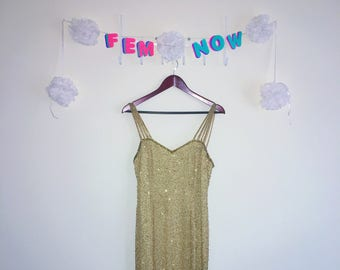 Vintage 1980s Dress, Niteline – Gold Sequin Evening