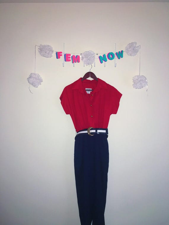 Vintage 1970s Romper, Melissa – Red / Navy with Be