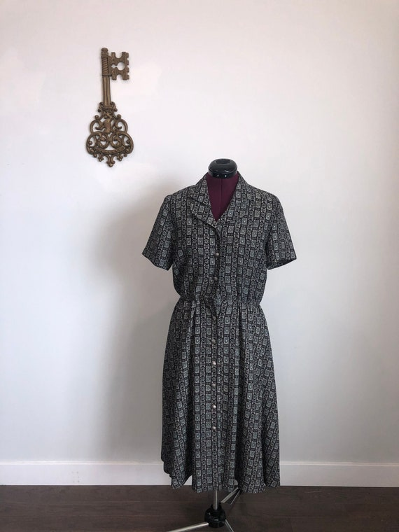 Vintage 1980s Dress, Leslie Fay – Navy / Green Col