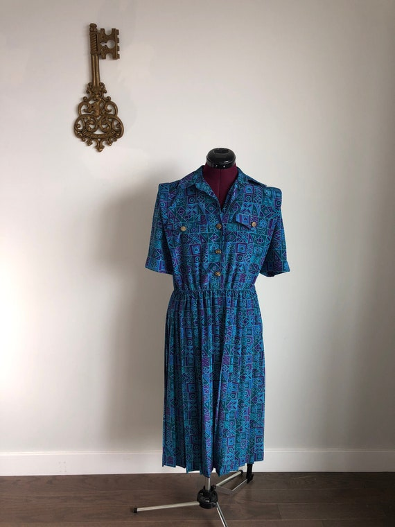 Vintage 1980s Dress, Leslie Fay – Teal / Purple Co