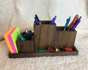 Hand made desk organizer in solid walnut