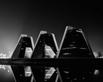 "Modern Decor, City Photography, Architecture Wall Art, Architecture Print, Fine Art Photography, Indianapolis Print ""Nocturnal Pyramids"""