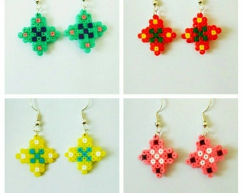 Burst of color - Choice of four Hama beads earring designs