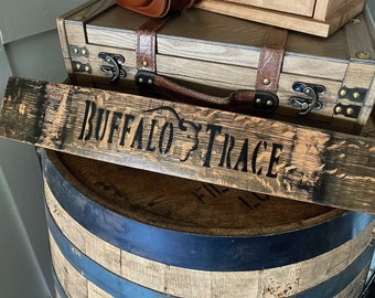 Buffalo Trace Logo on Barrel Stave, Buffalo Trace Decor, Buffalo Trace Gifts, Barrel Stave Decor, Barrel Decor