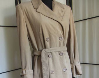 Soft Camel Trench Coat Double Breasted Women's Small