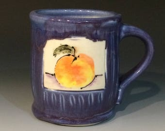 Purple porcelain mug with peach