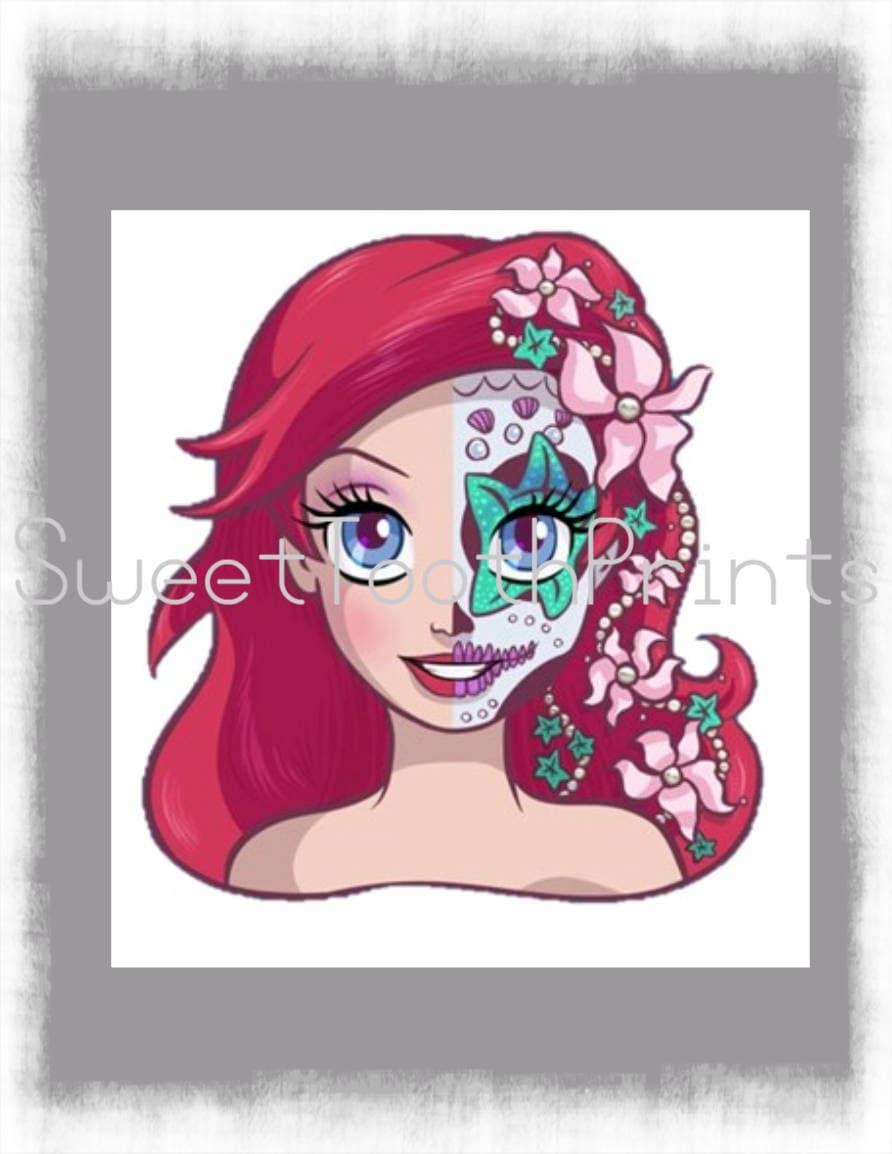 Disney Ariel Little Mermaid Day of the Dead Sugar Skull-DIY   Etsy