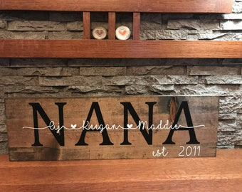 Nana Wooden Sign | Personalized Family Sign | Personalized Wooden Sign | Established Family Sign | Personalized Anniversary Gift