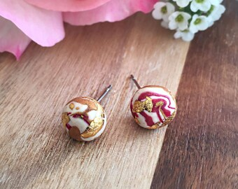 Polymer stud earrings, gold, pink and white