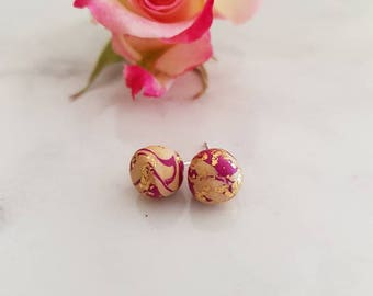Handmade pink, cream and gold polymer stud earrings