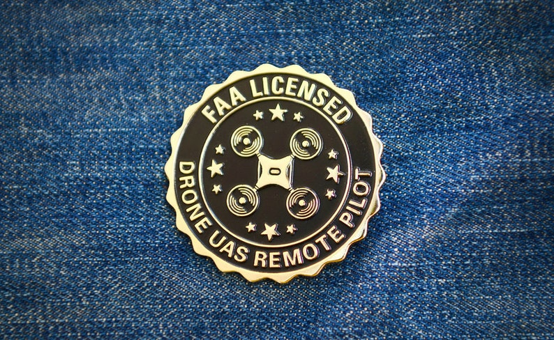 Large Drone Accessories Badge Pin - FAA Licensed UAS Remote Pilot Pin