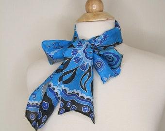 Hair scarf Hand painted silk scarf blue