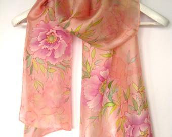 Blush pink scarf Women silk scarf Spring scarf Gift for her Hand painted silk scarf Silk painting batik Blush silk scarf Dusty rose scarf