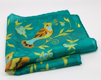 Wedding hankie Colorful tropical pocket square Groomsmen gift Watercolor birds and flower painting Tropical gift Handkerchief