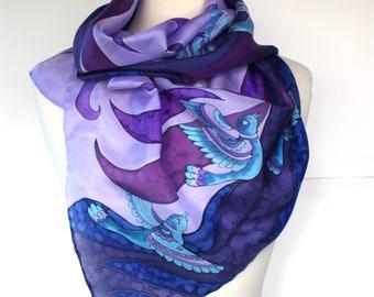 Ladies Purple Cotton Bird Scarf