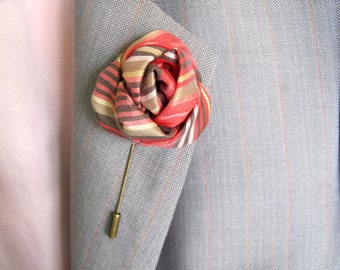 Silk rose lapel pin etsy red rose lapel pin striped lapel stick silk flower brooch alternatives pin silk rose lapel pin for men silk boutonniere groom lapel pin mightylinksfo