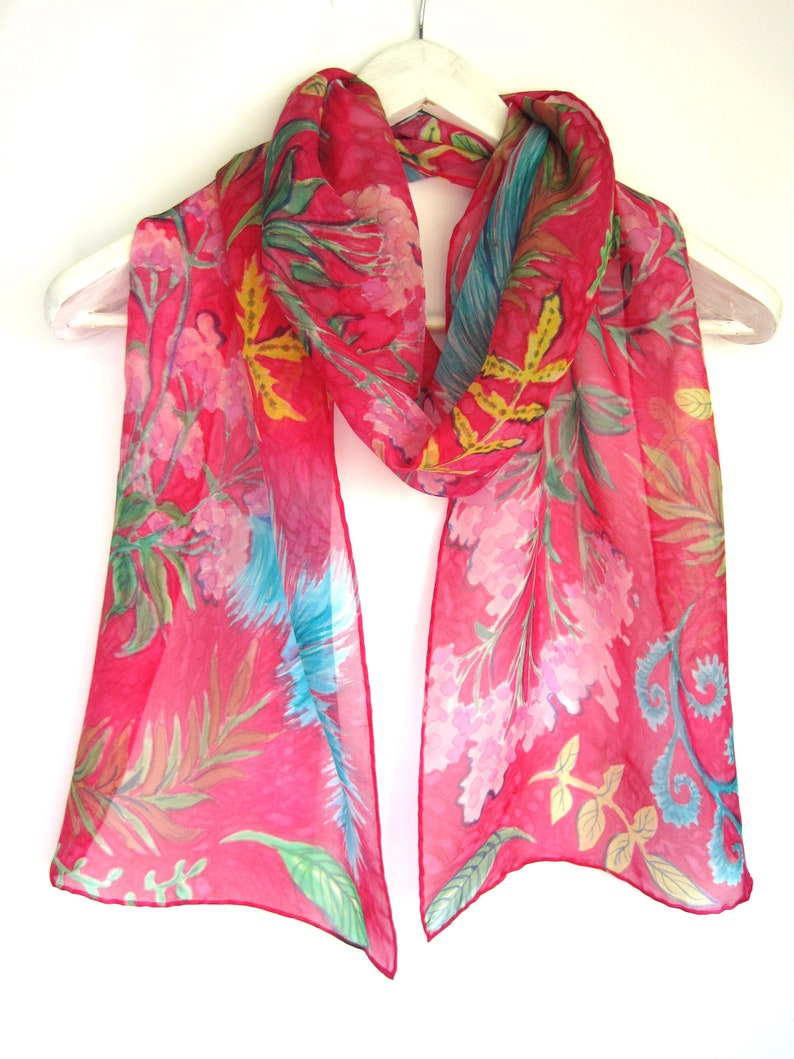 9beec0eda126 Hand painted silk scarf pink scarf gift for women