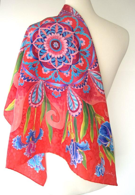 Hand-painted silk bandana mandala Silk square scarf
