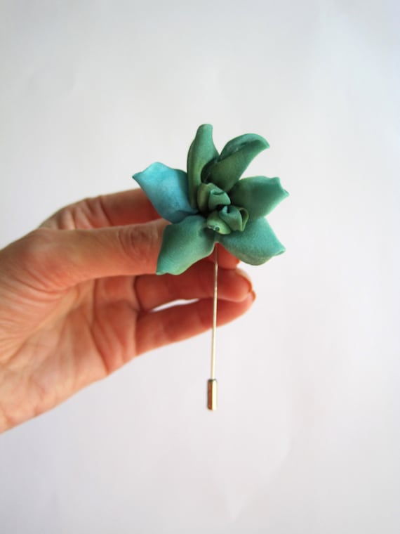 Green lapel pin succulent silk flower lapel stick etsy mightylinksfo