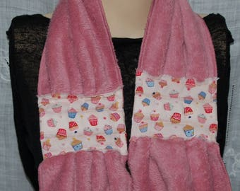 """Pink fleece fabric band """"cupcakes"""" magnetic closure scarf"""