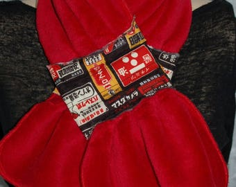 Red magnetic closure scarf