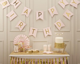 Party Decorations Happy Birthday Pink Bunting Girls Decor Banner