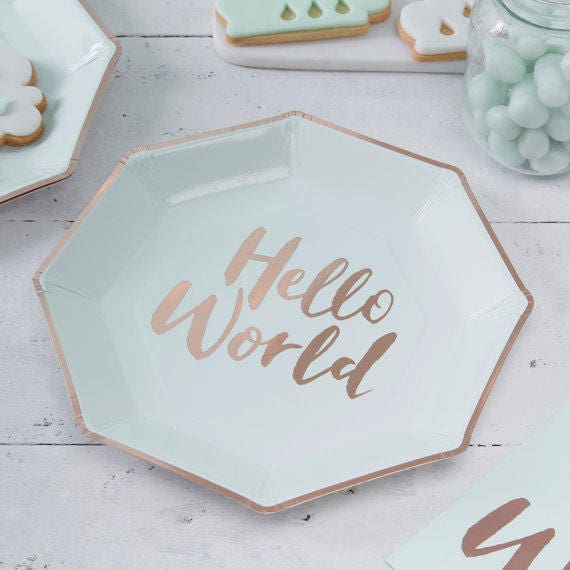 Baby Shower Plates Hello World Paper Plates Baby Shower Etsy