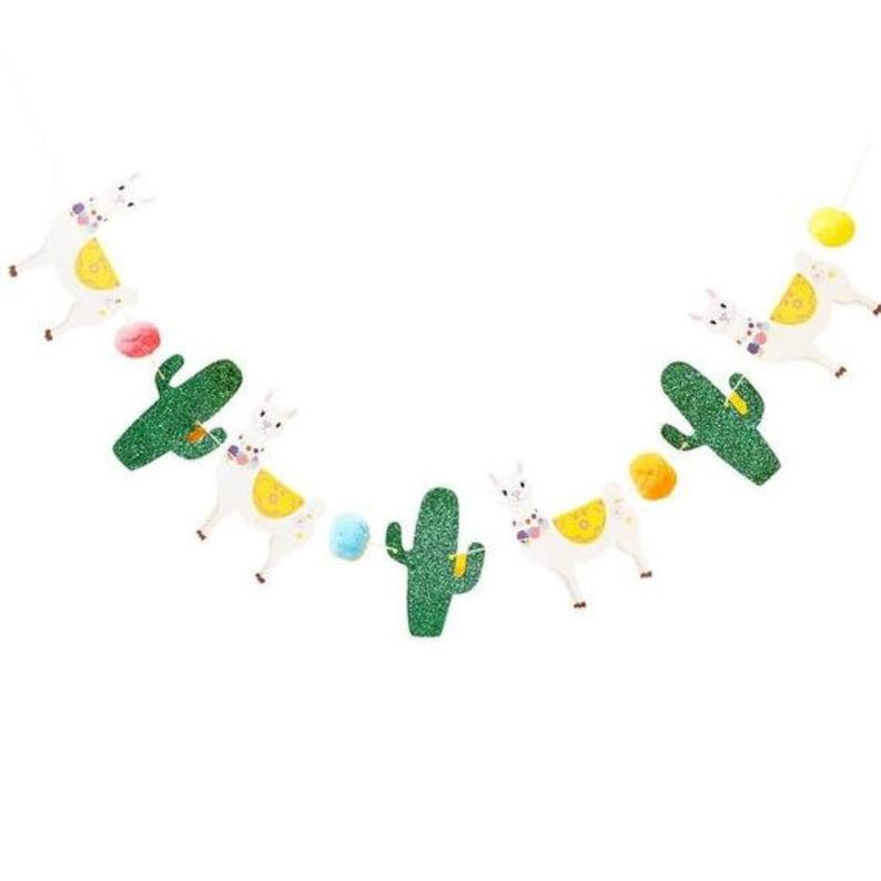 Llama Party Luau Party,Summer Party Fiesta Party Bunting Mexican Fiesta Party Garland Llama Cactus and Pom Pom Bunting Viva La Fiesta