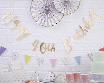 Gold Happy 40th birthday bunting-birthday bunting