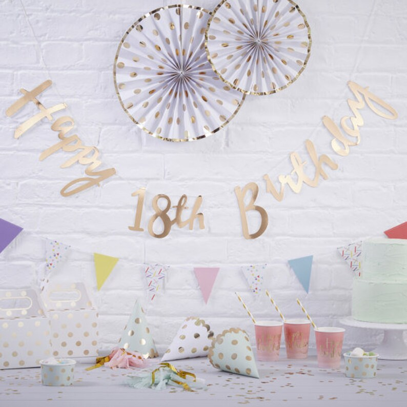 Party Decoration Bunting,Gold Happy 18th birthday bunting