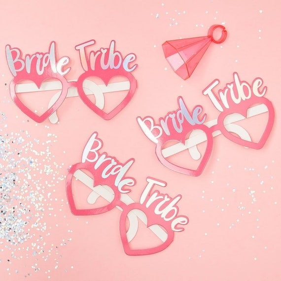 Team Bride Tribe Glasses Hen Party Novelty Fun to Be Pink Iridescent Wedding Hen