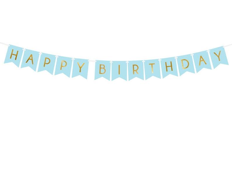 Boys Birthday Party Happy Birthday Bunting Blue /& Gold Decoration Birthday Decorations Birthday Backdrop Blue Happy Birthday Garland