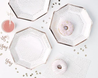 Rose Gold Foiled Spotty Paper Plates 8 Pack, Rose Gold Party, Party Plates, Hen Party, Birthday Plates, Rose Gold