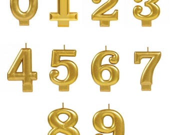 Cake Candles Gold/number candles/0-9 metallic candles/cake toppers/metallic candles