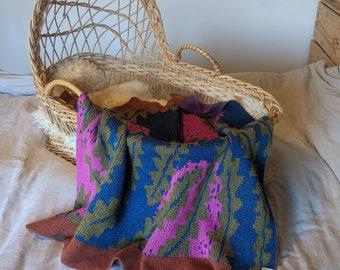 BANKSIA pure merino wool baby blanket  |  Floral baby blanket  |  Australian Native  |  Knitted bassinet blanket  |  Wall hanging | Troppo